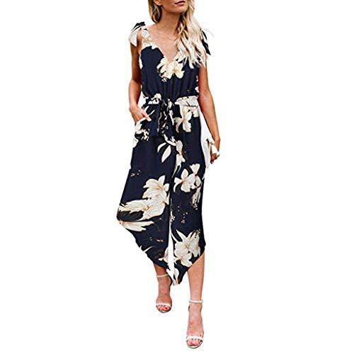 (Internet Jumpsuit Damen Eleganter Langarm-Overall mit V-Ausschnitt-Overall und langem Strampler mit Gürtel)