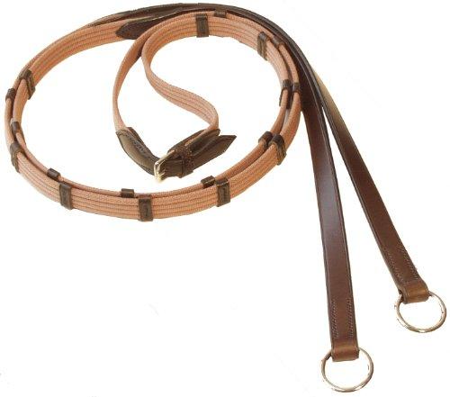 Stübben Gurtzügel schmal mit 9 Lederstegen und Ringen - schwarz - silber - VB/WB (140cm)
