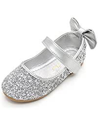 O N Glitter Bow Kids Children Girls Ballet Flats Princess Wedding Party  Bridesmaid School Shoes Mary Janes 0cf6e0884fe8
