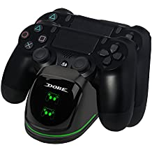 EXTSUD PS4 Controller Ladestation, Dual 4 Ladegerät Charger mit LED Anzeige und USB Kabel Ladegerät für Sony Playstation 4 / PS4 Slim/PS 4 Pro Wireless Game Controller Gamepad