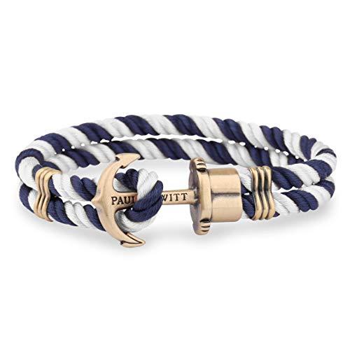 PAUL HEWITT Anker Armband Herren PHREP - Anker Armband Nylon (Marineblau und Weiß), Segeltau Armband Männer mit Anker Schmuck aus Messing
