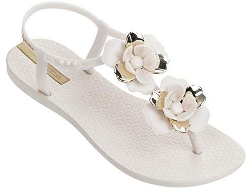 Ipanema Women's Floral Special Plastic Buckle Sandal Ivory-Ivory-3 Size 3