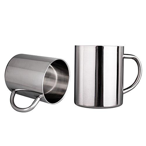 IMEEA ® 13.5oz(400ml) gebürstete Edelstahl Kaffeebecher Kaffeetasse Edelstahl Trinkbecher doppelwandig-Becher Tee Cup, Set mit 2 Stück