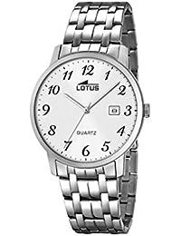Lotus Reloj de Hombre de Cuarzo con Esfera Analógica Blanca Pantalla y  Plata Pulsera de Acero c3f516a0aed2