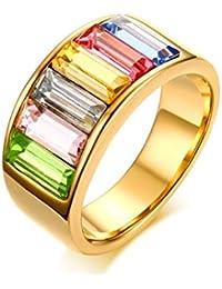 VJUKUBCUTE 9Mm De Titanio De Acero Inoxidable Arco Iris De Esmalte LGBT Orgullo Anillo para La Boda Lesbiana Y…