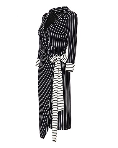 ZongSen Femme Robe Crayon Col V Rayure Manche Longue Cocktail Comme l'image