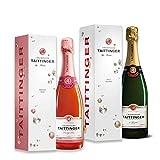 Taittinger Champagner Set 1x 0,75l Brut Réserve + 1x 0,75l Brut Rosé 12,5% Alk.