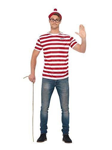 Kostüm Ist Wo Für Wally Erwachsene - Smiffys 42924XL Offizielles Lizenzprodukt Where e's Wally Kit, Unisex, Erwachsene, Rot & Weiß, Größe XL, 46-122 cm