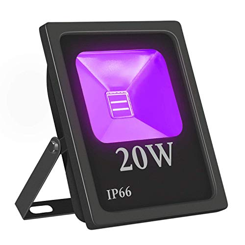 UV Led Luz de Inundación,Eleganted Impermeable IP66 Ultravioleta Blacklights Luces Negra 20W Lámpara...