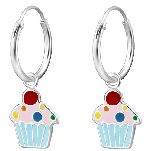 JAYARE Kinder Creolen Muffin Cupcake 925 Sterling Silber blau rosa pink rot 22 x 8 mm Mädchen Ohrringe