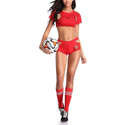 Zantec Kostüm Cheerleader, ausgesetzt Belly School Girl Dress Fancy Cheerleader Kostüm Football Baby Sexy Uniform (ohne Socken), 89102, Einheitsgröße (Sexy Football Kostüm)