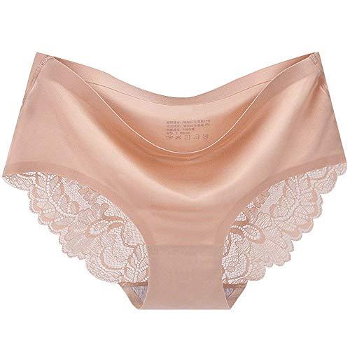 Rinalay Damen String Elegante Atmungsaktiv Spitze Slips Taille Fashion Panties Niedrige Reizvolle Mode Living Bequem Weiches Nahtlose Unterwäsche Tanga (Color : Beige, Size : L) - 3