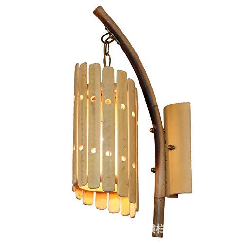 LPZF Wandleuchte Bambus Schattierungen E27 Wandlampe, Handgefertigt Retro Rustikal Dekor Wandleuchte Bar Hotel Flur Befestigung-1-Lichter 25X49cm