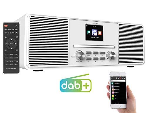 VR-Radio Radio: Stereo-Internetradio mit CD-Player, DAB+/FM & Bluetooth, 40 Watt, weiß (WLANradio)
