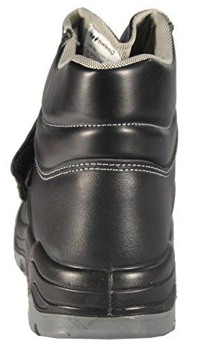 Mekap Loder 026–Adultes & de travail Chaussures de sécurité unisexe sans fermeture Bottes Boots S2–SRA Safety Shoes Footwear Pantoufles de glissement de chaussures en cuir Noir