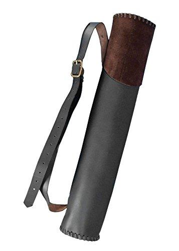 aus Leder, groß für 10 LARP-Pfeile Schwarz oder Braun Bogenschütze Mittelalter (Braun) (Halloween-vampire Hunter Kostüm)