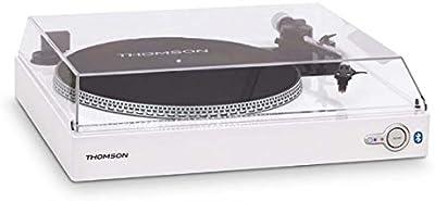 Thomson TT201BT - Tocadiscos Bluetooth (2 velocidades - 33/45 rpm, AC 230 V, recogida automática del brazo) blanco