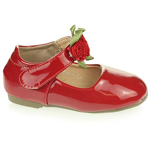 nzend Obere Blume Detail Klettverschluss Ballett Pumps Sandalen Rot Schuh Größe 29 (Rote Blumen-mädchen-schuhe)