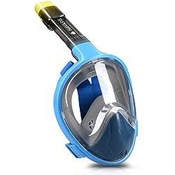 Navaris Masque de Plongée Intégral - Masque Tuba Adulte Enfant 12+ - Masque de Plongée Panoramique 180° Anti Buée avec Support Caméra d'action