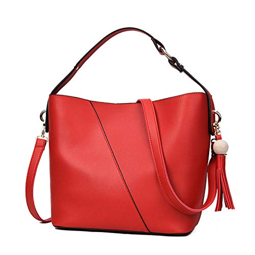 uliaadela Damen Leder Schultertaschen Umhängetaschen Hobo Totes Top Handle Bag Satchel and Purse für Damen, rot - Handle Satchel Bag