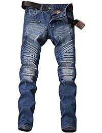 Bangxiu Jeans da Uomo, Jeans a Gamba Dritta con vestibilità