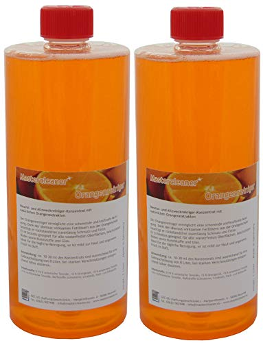 Mastercleaner Orangenreiniger Konzentrat mit nat. Orangenöl der hochwirksame und kraftvolle Allzweckreiniger 2 * 1 Liter Vorteilspack -
