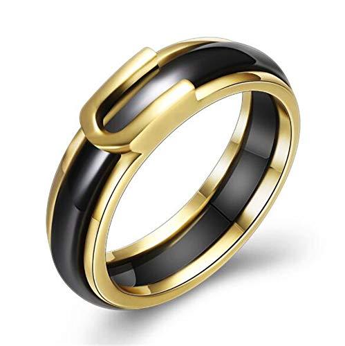 PAURO Unisex Band Keramik Klein Frisch Single Schwanz Ring Hochzeit Engagement Paar Schwarz Größe 60 (19.1) -