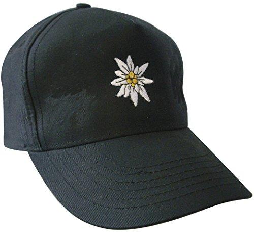Cap - Baumwollcap mit Bestickung - Edelweiss Edweiß - 60980 - schwarz - Cappy Kappe Baseballcap