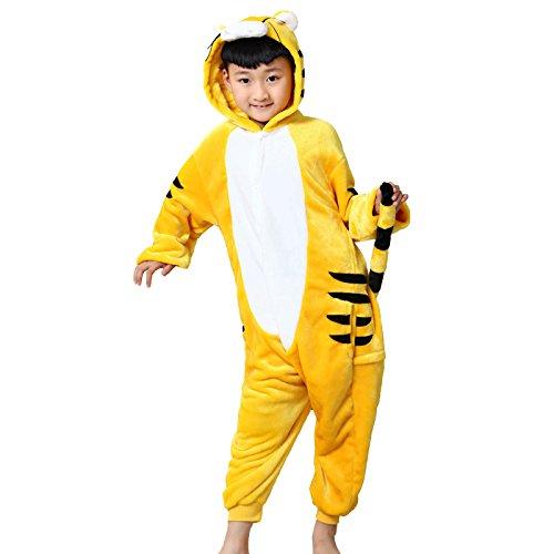ELonglin Enfant Unisexe Pyjama Animal Onesie Cosplay Combinaison Pyjama Nuit Vêtement Fête Halloween Flannels Costume Soiree de Deguisements Tigre Jaune Hauteur 131-140 CM