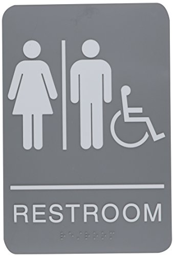 ADA Sign, Restroom/Wheelchair Accessible Tactile Symbol, Molded Plastic, 6 x 9