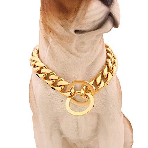 MUJING Custom Ultra Strong 15MM Slip Chain Dog Collar-für Pit Bull Mastiff Bulldog Big Breeds,20inch/50.8 -