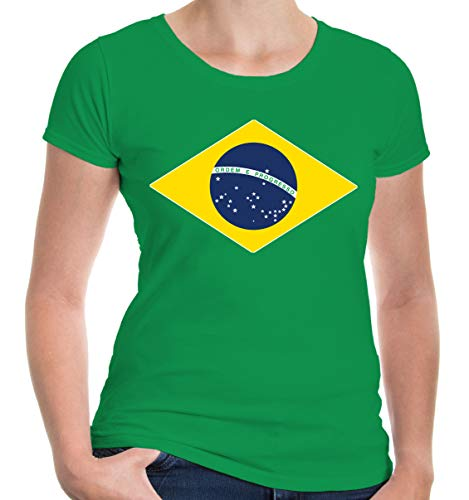 buXsbaum Damen Girlie T-Shirt Brasilien Flag Full Size | Brasil Brazil Amerika Ländershirt Trikot Reise | L, Grün - Brasil Flag T-shirt