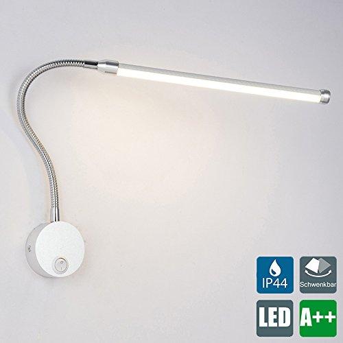 LED Leseleuchte, 6W Nachttischlampe, Flexibles Bettleuchte, Soft Tube Schwanenhals Lampe, Wandstrahler, Wandspot, Wandlampe, inkl. Schalter, in nickel matt, IP44, 230V, 600 Lumen (Led-6000k)
