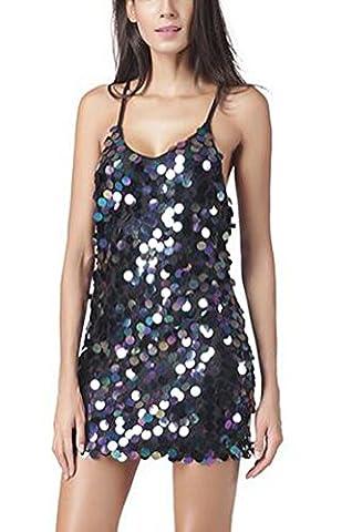 SunIfSnow Women Sexy Spaghetti Strap Glitter Sequin Backless Elegant Party Dress XL
