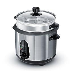 Arendo - Edelstahl Dampfgarer/Reiskocher | inkl. Dampfgarfunktion | 1,0l Kapazität | Warmhaltefunktion | mit Innentopf und Deckel, Messbecher, Pfannenwender, Dampfgaraufsatz