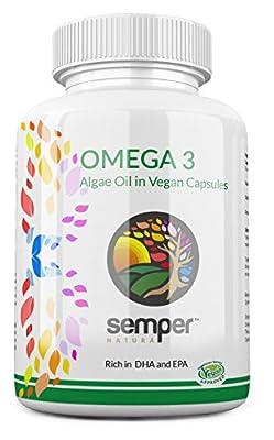 Vegan Omega 3 DHA + EPA (40:1 Ratio) | 500mg 30 Softgels | Pure Algae Oil by Semper Naturá | Algal Microalgae Supplement | Fish Alternative |