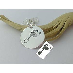 Mama Edition, Ihr Baby's 3D Fuss- oder Handabdruck 925-Silber Anhänger, Perfektes Geschenk für neue Mama