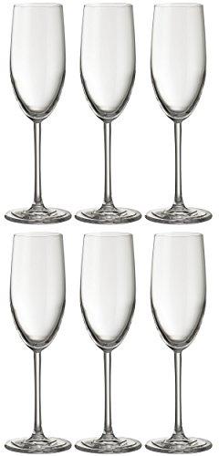 Jamie Oliver Waves Flûte à champagne 6 x 250 ml/255,1 gram hautes et ultra contemporain Cristal Verre de Prosecco Lot de beaux Verres à pied long clair et moderne Verrerie pour occasions spéciales Mariage Intérieur/extérieur