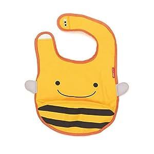 Skip Hop Zoo Tuck-Away Bib Bee - baby bibs (Black, Yellow, Velcro)