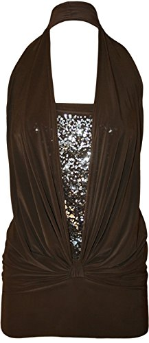 Ladies Sequin Halter Neck Ruched Boob Tube Stretch Top EUR Taille 36-44 Marron