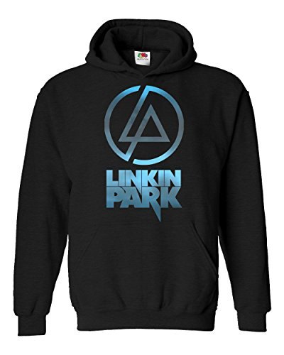 "Felpa Unisex ""Linkin Park - sky texture"" - Felpa con cappuccio rock band LaMAGLIERIA, M, Nero"