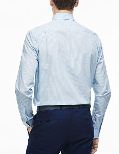Lacoste Men's Blue Striped Cotton Men's Shirt 100% Cotton Light Blue