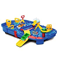 Aquaplay Portable Waterway Canal System Toy with Lock Gates Crane, Amphibious Truck and Boat