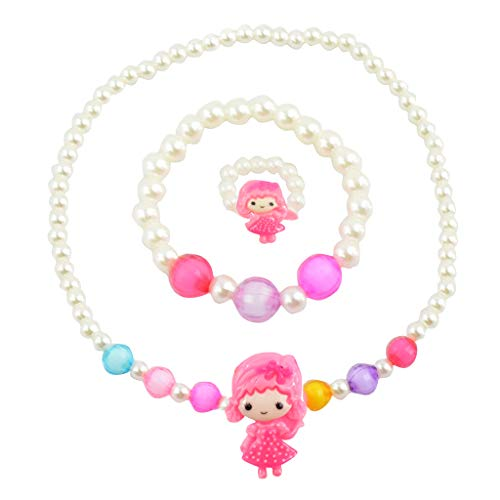 Angel Glitter Sleepy Baby Pearly Dream White Pearl Necklace Set for Children