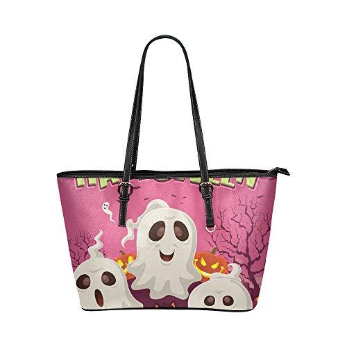 Kühle Halloween Kriechspaß Spaß Geist große weiche lederne tragbare Griff Handhandbeutel kausale Handtaschen mit Schulter Einkaufen Geldbeutel Gepäck Organisator für die Arbeit der Dame Mädchen