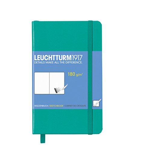 Leuchtturm1917 344993 Skizzenbuch Pocket (A6, mit reinweißem, extra starkem 180 g/m² Papier, 96 Seiten) smaragd
