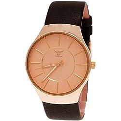 NY London designer Slim Unisex Damen Herren Leder Armband Uhr Schwarz Rose Gold super flach inkl Uhrenbox