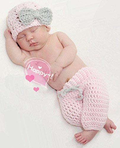 Ximkee Nette neugeborene Baby-Mädchen-Baby-Häkelarbeit-Kostüm Foto Fotografie Props 0-6 (0 3 Babys Kostüme Für Monate)