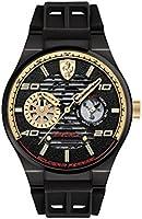 ساعة كوارتز من فيراري للرجال، شاشة عرض بعقارب، وسوار من مادة السيليكون باللون الاسود 830457