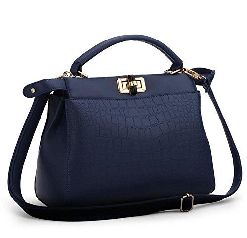 HQYSS Damen-handtaschen Frauen PU-lederne große Kapazitäts-prägeartige Schulter-Beutel-Kurier-Handtaschen-justierbare einfache wilde Einkaufstasche deep blue